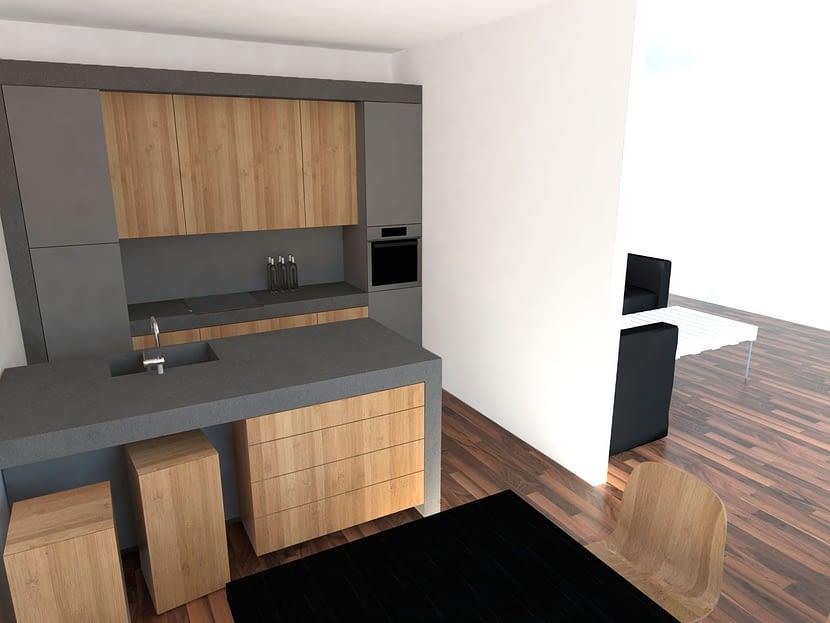 cocina cemento y madera